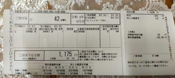 電気代1175円!